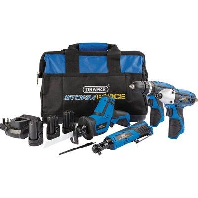 Draper Storm Force 10.8v Cordless 4 Piece Power Tool Kit 3 x 1.5ah Li-ion Charger Bag