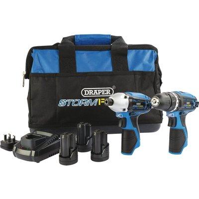 Draper Storm Force 10.8v Cordless 3 Piece Power Tool Kit 3 x 1.5ah Li-ion Charger Bag