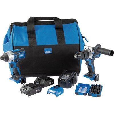 Draper 4 Piece 20v D20 Cordless Fix N Go Power Tool Kit 2 x 2ah Li-ion Charger Bag & Accessories