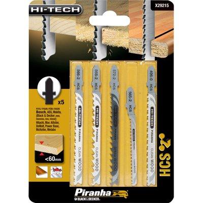 Black and Decker X29215 Piranha 5 Piece Hi Tech Wood HCS T Shank Jigsaw Blade Set