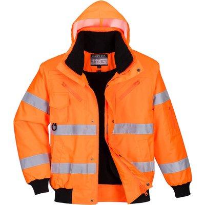 Oxford Weave 300D Class 3 Hi Vis Bomber Jacket Orange L