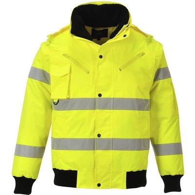 Oxford Weave 300D Class 3 Hi Vis Bomber Jacket Yellow L