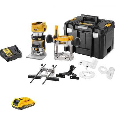 """DeWalt DCW604NT 18v XR Cordless Brushless 1/4"""" Router Kit 1 x 2ah Li-ion Charger Case & Accessories"""