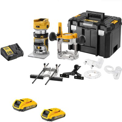 """DeWalt DCW604NT 18v XR Cordless Brushless 1/4"""" Router Kit 2 x 2ah Li-ion Charger Case & Accessories"""