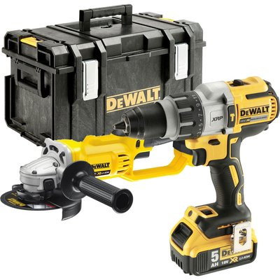 DeWalt DCK278P2 18v Cordless XR Brushless Combi Drill and Angle Grinder Kit 2 x 5ah Li-ion Charger Case