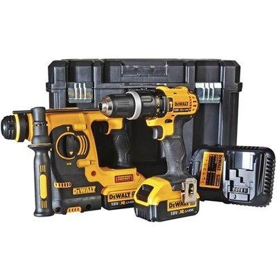 DeWalt DCK206M2 18v Cordless SDS Hammer Drill and Combi Drill Kit 2 x 4ah Li-ion Charger Case