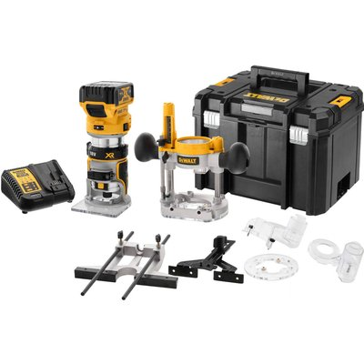 """DeWalt DCW604NT 18v XR Cordless Brushless 1/4"""" Router Kit 1 x 5ah Li-ion Charger Case & Accessories"""