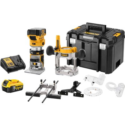 """DeWalt DCW604NT 18v XR Cordless Brushless 1/4"""" Router Kit 2 x 5ah Li-ion Charger Case & Accessories"""