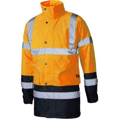 Dickies Mens Hi Vis Parka Safety Jacket Orange / Navy L