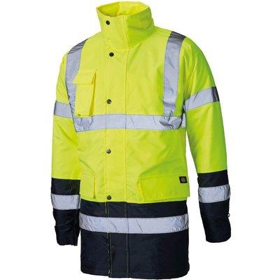 Dickies Mens Hi Vis Parka Safety Jacket Yellow / Navy 2XL