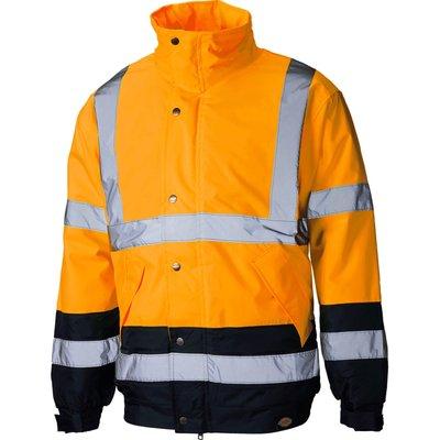 Dickies Mens Hi Vis Two Tone Pilot Jacket Orange / Navy M