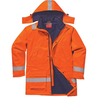 Biz Flame Mens Flame Resistant Antistatic Winter Jacket Orange L
