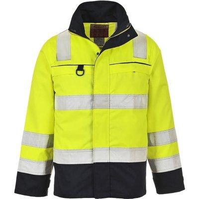 Biz Flame Flame Resistant Hi Vis Multi Norm Jacket Yellow / Navy XL