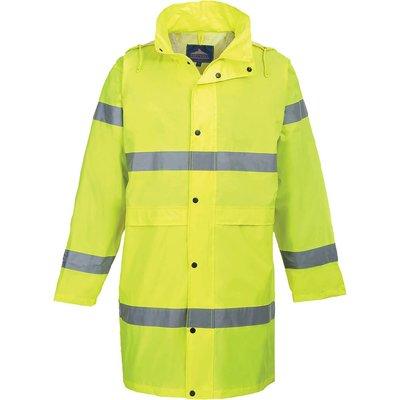 Portwest Hi Vis Long Rain Coat Yellow 4XL