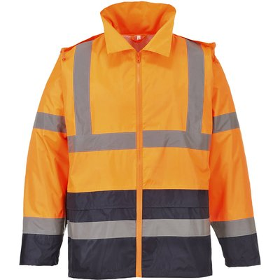 Classic Hi Vis Contrast Rain Jacket Orange / Navy 2XL