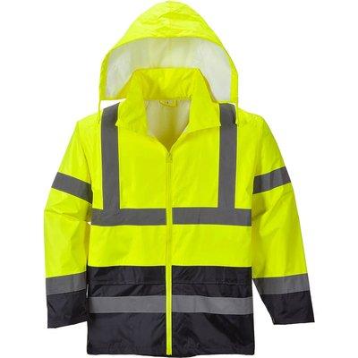 Classic Hi Vis Contrast Rain Jacket Yellow / Navy 3XL