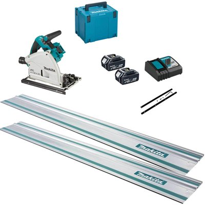 Makita DSP600ZJ Twin 18v LXT Cordless Brushless Plunge Saw 3 Piece Kit 2 x 5ah Li-ion Charger Case & Accessories