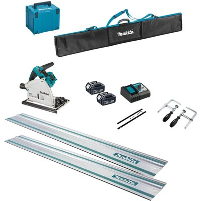 Makita DSP600ZJ Twin 18v LXT Cordless Brushless Plunge Saw 6 Piece Kit 2 x 5ah Li-ion Charger Case & Accessories