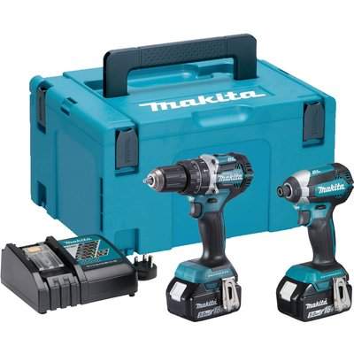 Makita DLX2180TJ 18v Cordless LXT Brushless Combi Drill and Impact Driver Kit 2 x 5ah Li-ion Charger Case