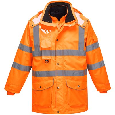 Oxford Weave 300D Class 3 Hi Vis GO/RT 7-in-1 Traffic Jacket Orange 5XL