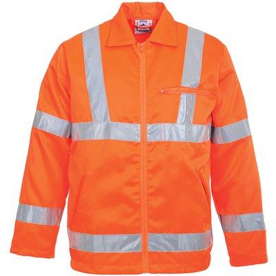 Portwest Class 3 Hi Vis RIS Polycotton Jacket Orange S
