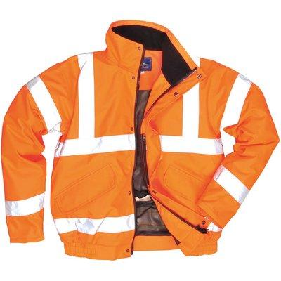 Oxford Weave 300D Class 3 Breathable Hi Vis Bomber Jacket Orange L