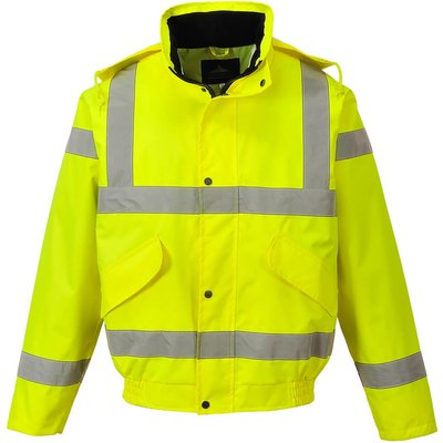 Oxford Weave 300D Class 3 Breathable Hi Vis Bomber Jacket Yellow S
