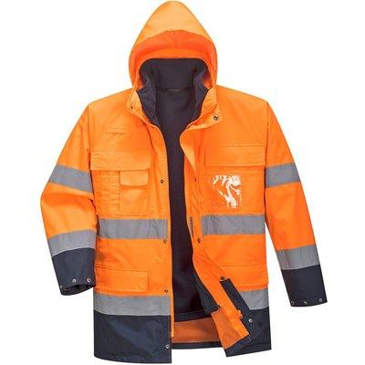 Portwest Lite 3 in 1 Hi Vis Jacket and Detachable Fleece Orange / Navy 3XL