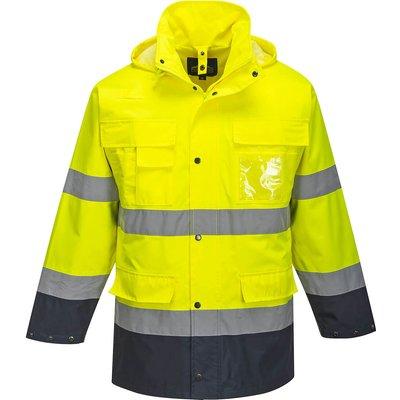 Portwest Lite 3 in 1 Hi Vis Jacket and Detachable Fleece Yellow / Navy S