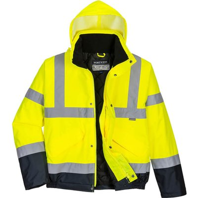Oxford Weave 300D Class 3 Two Tone Hi Vis Bomber Jacket Yellow / Navy M
