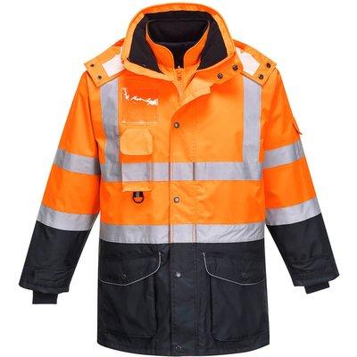 Oxford Weave 300D Class 3 Hi Vis 7-in-1 Contrast Traffic Jacket Orange / Navy 4XL
