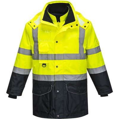 Oxford Weave 300D Class 3 Hi Vis 7-in-1 Contrast Traffic Jacket Yellow / Navy XS