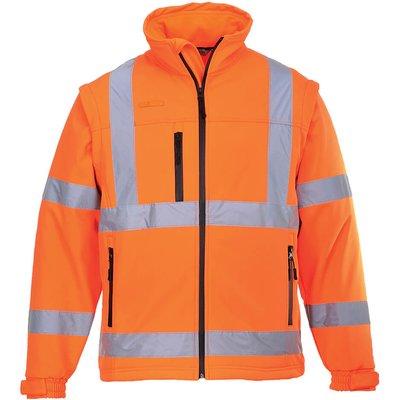 Portwest 2 in 1 Waterproof Hi Vis Softshell Jacket Orange XS