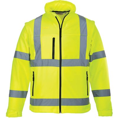 Portwest 2 in 1 Waterproof Hi Vis Softshell Jacket Yellow 2XL