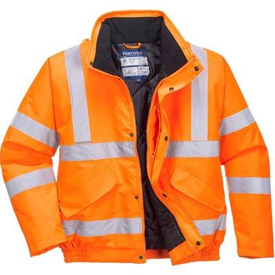 Oxford Weave 300D Class 3 Hi Vis Bomber Jacket Orange 2XL