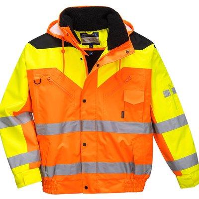 Contrast Plus Hi Vis Bomber Jacket and Detachable Lining Orange M