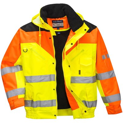 Contrast Plus Hi Vis Bomber Jacket and Detachable Lining Yellow M