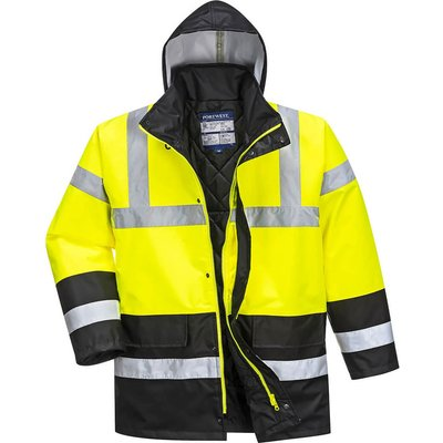 Oxford Weave 300D Class 3 Hi Vis Contrast Traffic Jacket Yellow / Black L