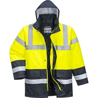 Oxford Weave 300D Class 3 Hi Vis Contrast Traffic Jacket Yellow XS