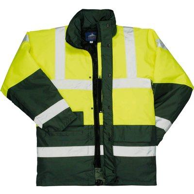 Oxford Weave 300D Class 3 Hi Vis Contrast Traffic Jacket Yellow / Green 3XL