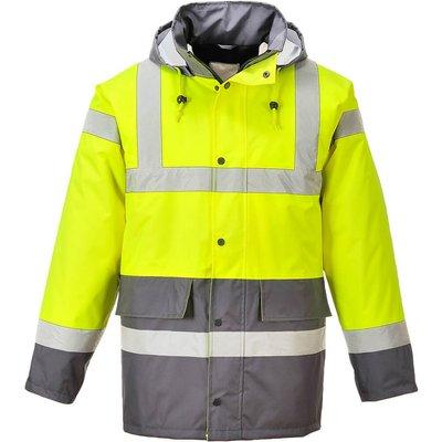 Oxford Weave 300D Class 3 Hi Vis Contrast Traffic Jacket Yellow / Grey L