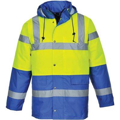 Oxford Weave 300D Class 3 Hi Vis Contrast Traffic Jacket Yellow / Royal Blue XS