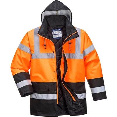 Oxford Weave 300D Class 3 Hi Vis Two Tone Traffic Jacket Orange / Black M