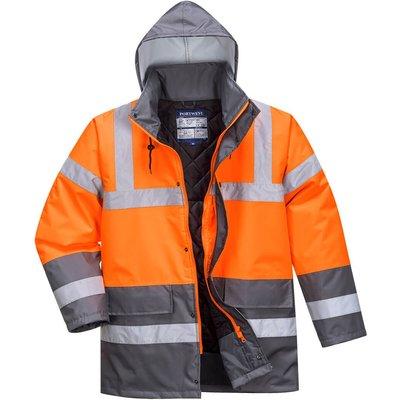 Oxford Weave 300D Class 3 Hi Vis Two Tone Traffic Jacket Orange / Grey S