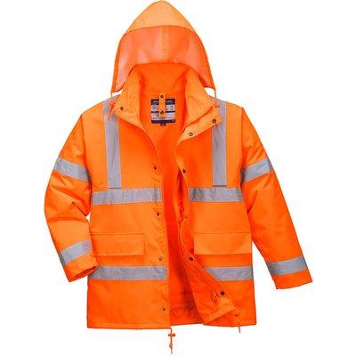 Oxford Weave 300D Class 3 Hi Vis 4-in1 Traffic Jacket Orange 4XL
