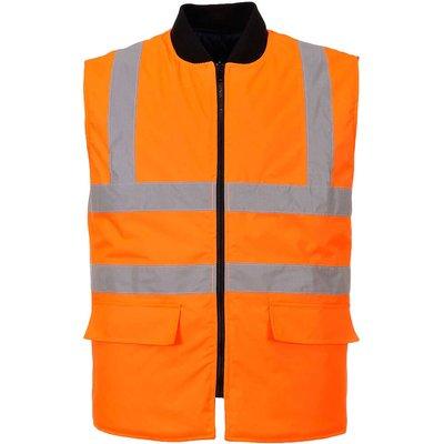 Oxford Weave 300D Class 2 Reversible Hi Vis Bodywarmer Orange 4XL