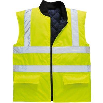 Oxford Weave 300D Class 2 Reversible Hi Vis Bodywarmer Yellow L