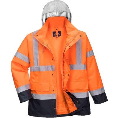 Oxford Weave 300D Class 3 Hi Vis 4-in-1 Traffic Jacket Orange / Navy 3XL