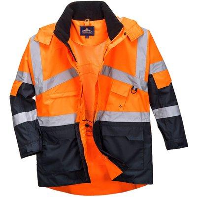 Oxford Weave 300D Class 2 Hi Vis 2-Tone Breathable Jacket Orange / Navy M