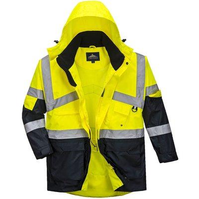 Oxford Weave 300D Class 2 Hi Vis 2-Tone Breathable Jacket Yellow / Navy XS